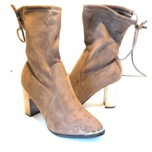 Catherine Malandrino bronze & brown tie up booties
